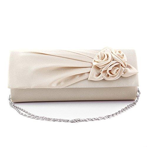 Beallure Women's Vintage Velvel Clutch Handbag for Cocktail Wedding Evening Party (Beige) (Silk Clutch Pleated)