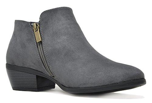 TOETOS Damen Cowboy Blockabsatz Seitlicher Reißverschluss Ankle Booties 01-graues Wildleder