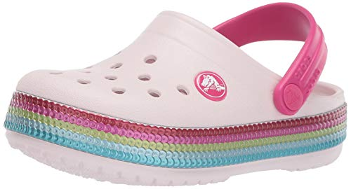 Crocs Kids' Crocband Sequin Band Clog, Barely Pink, 2 M US Little Kid ()