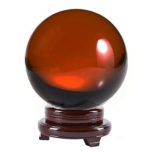 - Amlong Crystal 8 inch (200mm) Amber Crystal Ball including Wooden Stand and Gift Package