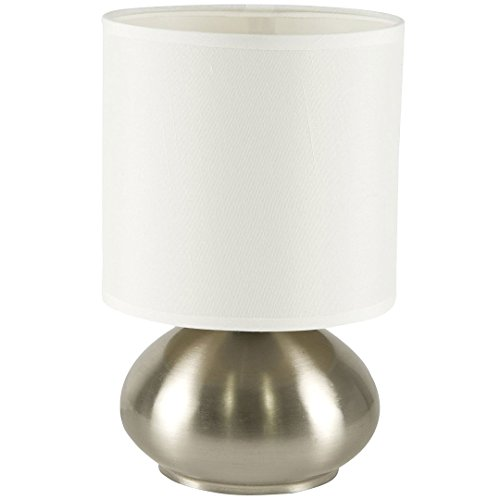 Light Accents Touch Table Lamp Bedroom Side Table Lamp With 3 Stage Touch  Dimmer (Low, Bright, And Off) Brushed Nickel