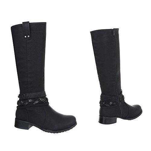 Ital-Design Women's Boots Block Heel Classic Boots Black lSIIAWzHc