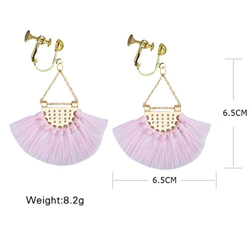 Sweet Clip on Earrings Fan Style Tiered Thread Fringe Layered Tassel Dangle for Girls Women Pink