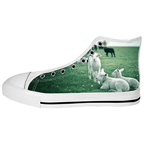 I Tetto Lacci Reticolo Delle Pecore Shoes Women's Ginnastica Da Canvas Scarpe Alto Custom YqH07Uq