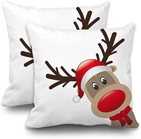 Batmerry Set of 2 Merry Christmas Decorative Pillow Covers 18x18 inch,Seasons Greetings Red Christmas Reindeer Double Sided Throw Pillow Covers Sofa Cushion Cover