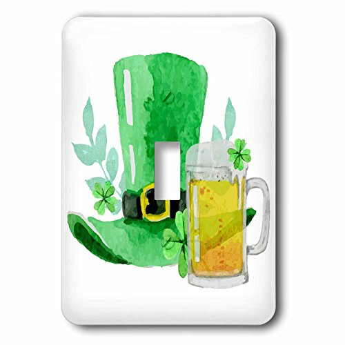 3dRose TNMGraphics Irish - Irish Green Top Hat and Mug of Beer - Light Switch Covers - single toggle switch (lsp_280641_1) (Light Irish Beer)