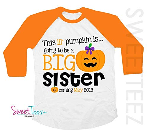 Big Sister Shirt Halloween Shirt Personalized Due Date for Fall and Thanksgiving Pregnancy Announcement Orange Raglan Shirt -