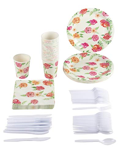 Disposable Dinnerware Set - Serves 24 - Vintage Floral Party Supplies for Birthday, Weddings, Bridal Shower, Garden Flowers Design, Includes Plastic Knives, Spoons, Forks, Paper Plates, Napkins, Cups