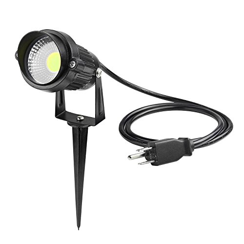 Lemonbest Super Bright Outdoor LED Decorative Lamp Lighting 5W COB LED Landscape Garden Wall Yard Path Lawn Light Spiked Stand w/ AC power plug (1, Cool (Outdoor Spotlight)