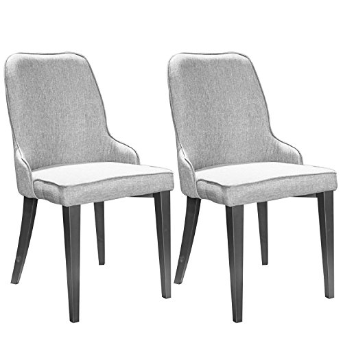 Merax Set of 2 Metal Dining Chairs with Padded Seat and Back Grey
