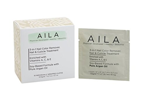 AILA 3-in-1 Soy-Based Nail Polish Remover Cloths