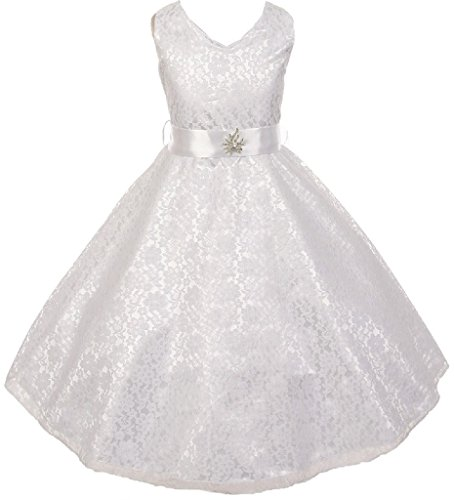 Big Girls' Lace Overlay Satin Brooch Flowers Girls Dresses White Size 8 (White Flowers Popular)