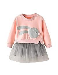Matoen Baby Girl Cartoon Bunny Princess Patchwork Sweatshirt Tulle Dress Clothes