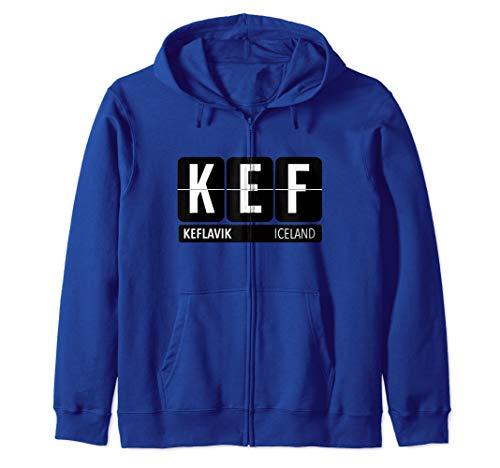 KEF Keflavik Iceland Travel Souvenir White Zip Hoodie