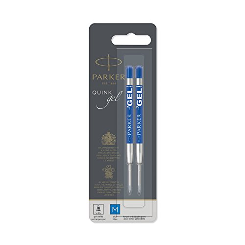 PARKER QUINK Ballpoint Pen Gel Ink Refills, Medium Tip, Blue, 2 -