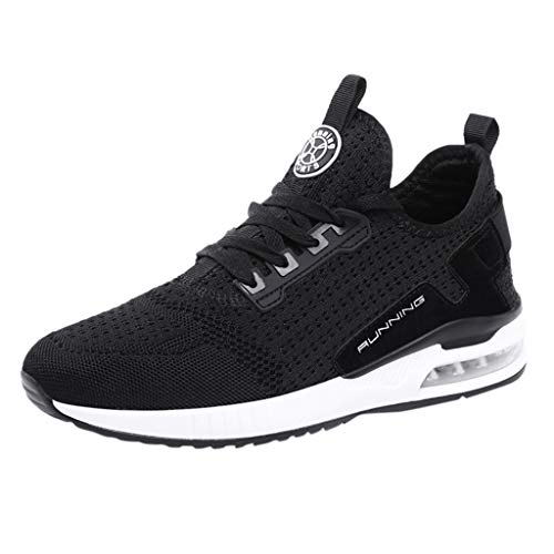 Couple Men Women Casual Walking Sneakers Breathable Slip On Mesh Lace Up Lightweight Outdoor Sport Shoes (US:9, Black)