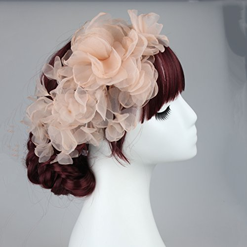 [Flower Girl Headdress or Bride Accessories, Silk Flowers Headpieces Headwear Accessories for Wedding or Party, With Ribbon] (Pink Lady Costume Images)