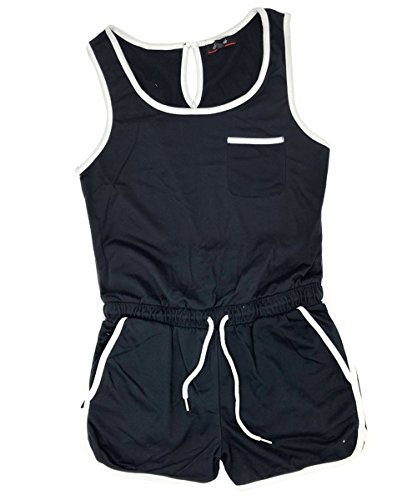 - Momodani Women's Summer Casual Spaghetti Strap Adjustable Waist Drawstring Short Jumpsuit Solid Cami Romper for Girl,Black