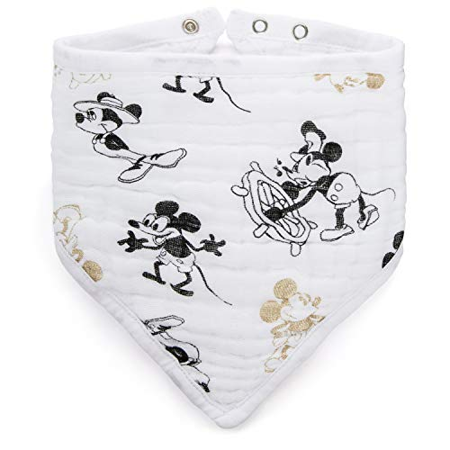 aden + anais Disney Metallic Bandana Bib; 100% Cotton Muslin; Soft Absorbent 3 Layers; Adjustable; 8.5