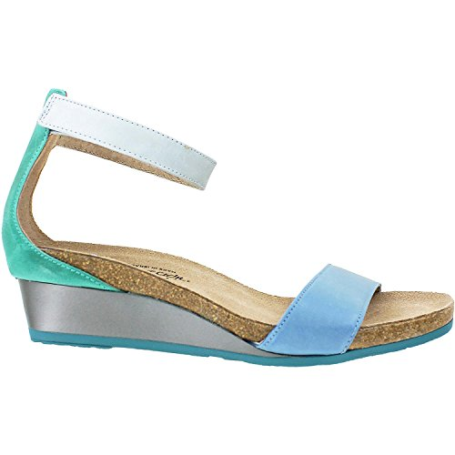 NAOT Footwear Women's Pixie Wedge Vintage Blue/Oily Emerald/Ice Blue 5 M US