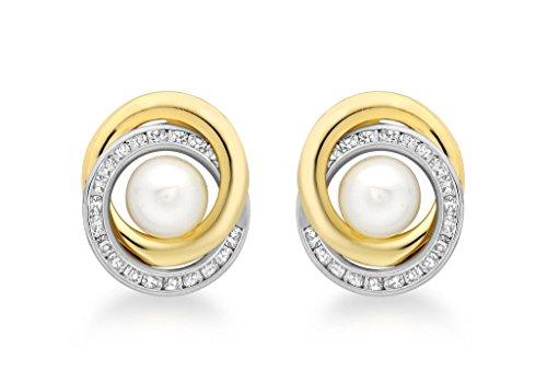 9ct or 2couleurs 15mm pierre et perle Boucles d'oreilles clous Motif tourbillon