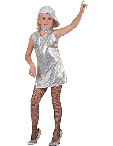 Funny Fashion Disco Dress Silver Child -