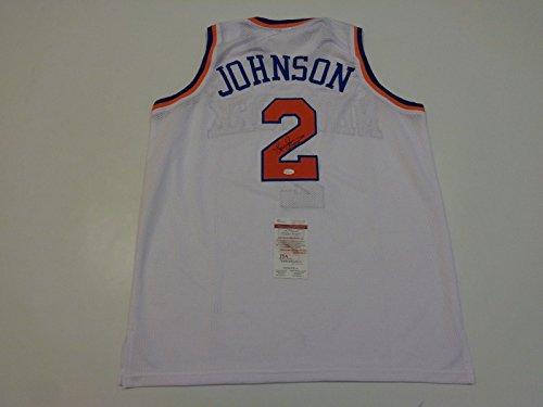 LARRY JOHNSON signed autographed Knicks white Jersey JSA Witness