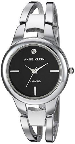 Silver Tone Open Link Watch (Anne Klein Women's AK/2629BKSV Diamond-Accented Silver-Tone Open Bangle Watch)