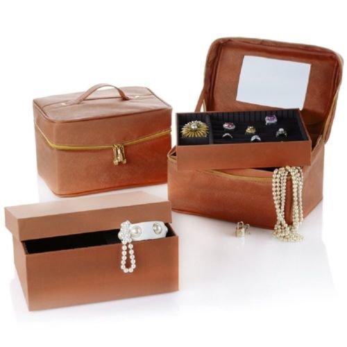 Joy Mangano Luxurious Jewelry Kit Trio Plus Large Jewelry Box (Warm Cognac) -