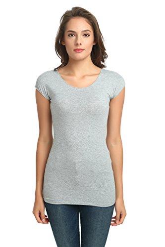 - zhAjh Womens Cotton Spandex Scoopneck Cap Sleeve Tee T-Shirt (Large, Heather Gray)