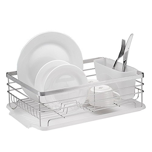 - Stylish Sturdy Stainless Steel Metal Wire Medium Dish Drainer Drying Rack (Stainless Steel, Chrome)