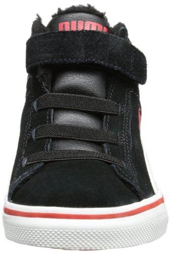 Puma Mid Vulc FUR V Kids 354143, Unisex - Kinder Hohe Sneakers Schwarz (black-white-high risk red 06)