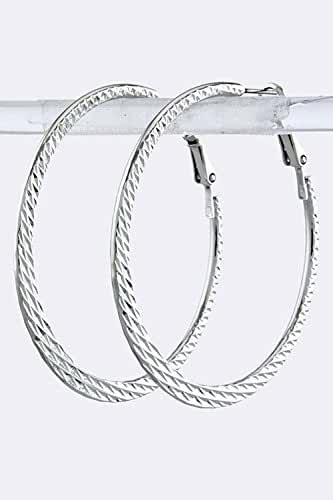TRENDY FASHION JEWELRY FLAT TEXTURED HOOP EARRINGS BY FASHION DESTINATION
