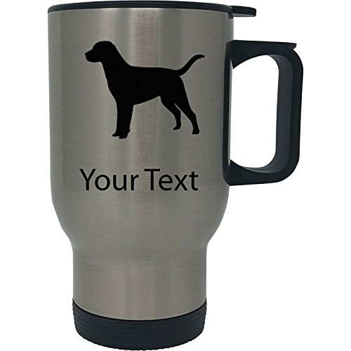 (Custom Personalized Labrador Retriever 14 Ounce Silver Stainless Steel Travel Coffee Mug with)