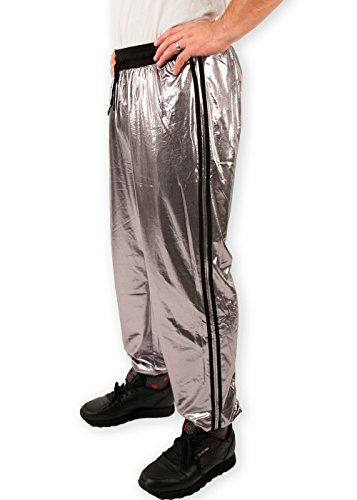 Festified Adult Unisex 80's Track Suit Pants in Metallic Gray (4X-Large)