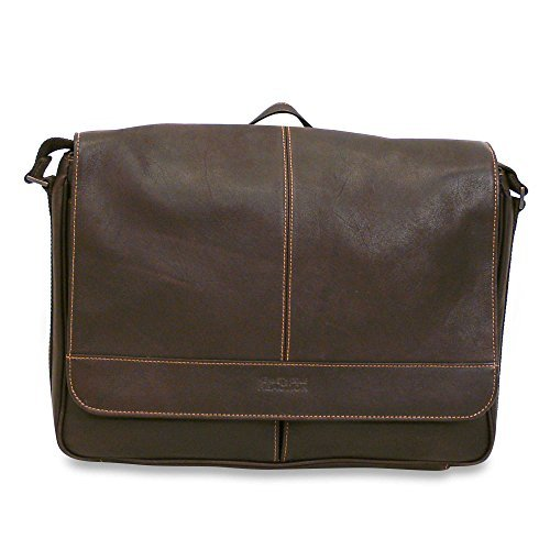 Durable, long-lasting Kenneth Cole Reaction Dark Brown Risky Business Leather Flap-Over Messenger Bag. Features a fully lined interior; Gusset pockets with organizer features. Perfect bag for you! by Kenneth Cole REACTION