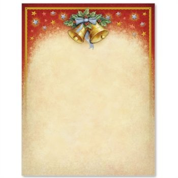 Holly Bells Christmas Letter Paper, 8.5 x 11 inches, 100 Count, 24lb Stock Paper, Laser and Inkjet Compatible