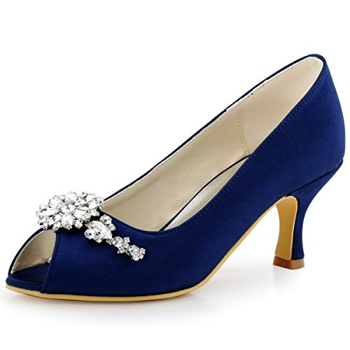 (ElegantPark HP1541 Women Pumps Mid Heel Peep Toe Flower Rhinestones Satin Evening Prom Wedding Shoes Navy Blue US)