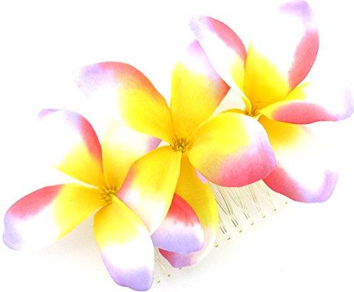 Triple Multicolored Plumeria Silk Flower Hair Comb (Plumeria Hair Comb)