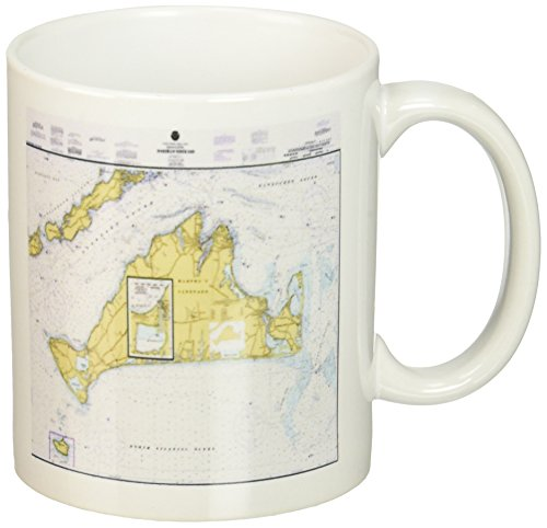 3dRose mug_214258_1 Print of Nautical Map Of Martha's Vineyard - Ceramic Mug, ()