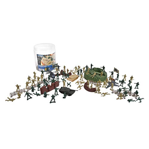 Elite Force 100-Pieced Military Soldier Battle Group Army Man Play Bucket Playset with Tanks, Trucks, Helicopters, Border Walls, Fences, Soldiers and Other Battlefield -
