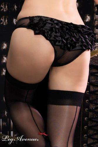 Leg Avenue Women's Sheer Panty with Satin Rhumba Ruffle Back, Black, Large