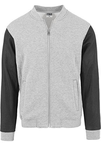 00726 Hombre Gry Jacket Urban Zipped Classics Gry Leather Multicolor Sleeve para Imitation Blk Chaqueta qZO78w