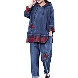 YESNO WD9 Women Casual Hoodie Pullover Sweatshirt Long Sweatpants Jogger Sweat Outfits Sets