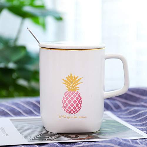 SHUIBEIHHY White Cartoon Pattern Ceramic Mug with lid Spoon,Korean Style Ceramic Cup Student Couple Cup Tea Mug Drinkware Gift