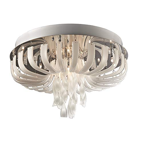 Lite Source EL-50080 Ribbon Flush Mount Lamp with Frost Glass, Chrome Finish