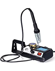 YIHUA 927-I 60W Adjustable Temperature Soldering Iron Station 200~480°C with Solder Roll Holder, Removable Solder Collector, Brass Tip Cleaner, Blue Sponge and The UK Plug
