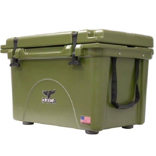 (ORCA ORCG040 Cooler with Extendable flex-grip handles for comfortable solo or tandem portage, 40 quart, Green)