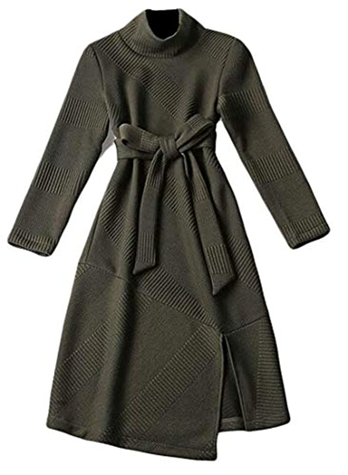 ダーベビルのテスパーセント復活Keaac 女性ハイネック長袖サイドスプリットニットセータードレス Blackish Green Small