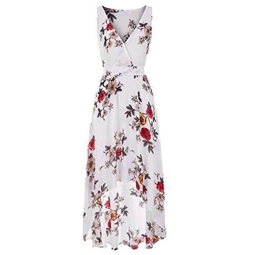 Sans Blanc En Courte Acmede V Devant Longue Manche Derriere Robe Floral Femme Mousseline Col wwpOqAz